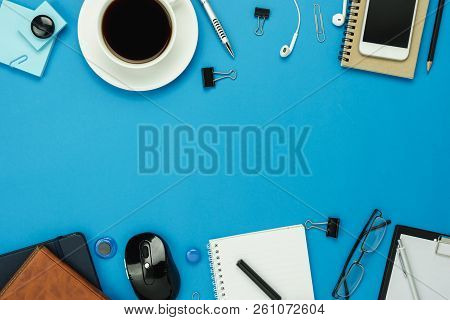 Table Top View Aerial Image Of Accessories Office Desk Background Concept.flat Lay Of Variety Object