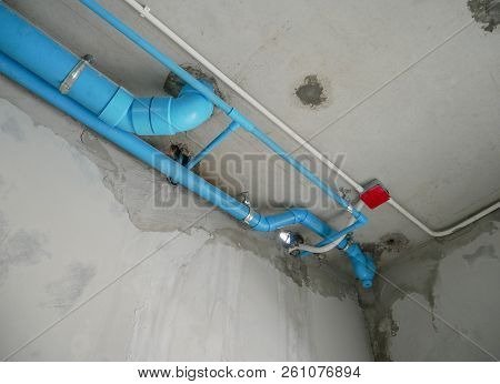 Blue Water Pipe On Concrete Wall, Blue Water Pipe.