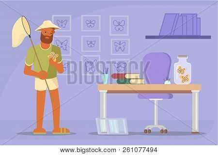 Butterfly Catcher With Net Vector Flat Illustration
