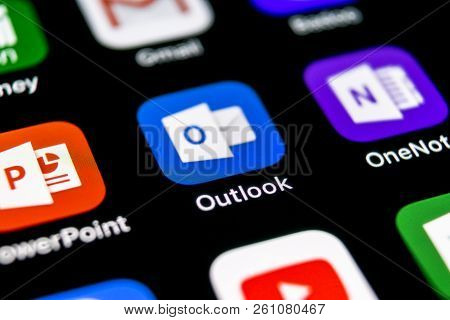 Sankt-petersburg, Russia, September 30, 2018: Microsoft Outlook Office Application Icon On Apple Iph