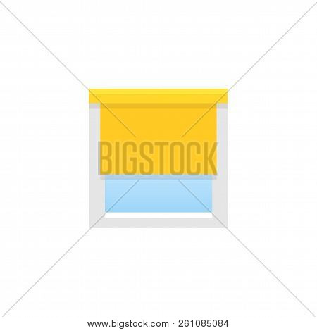 Yellow Roller Blind. Sun Protection Shade. Room Darkening & Light Blocking  Jalousie. Flat Illustrat