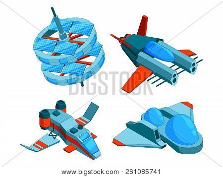 Spaceships Isometric. Building Technology Of Various Types Of Ships Cargo Warship Bomber And Aerial