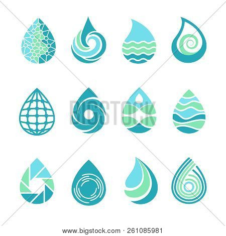 Drops Logos. Colored Water Aqua Splashes Nature Symbols Liquid Food And Oil Vector Template Icons Of