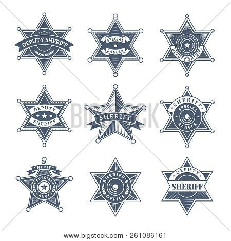 Security Sheriff Badges. Police Shield And Officers Logo Texas Rangers Vector Symbols. Illustration