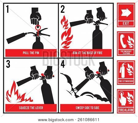 Fire Fighting Technical Illustration. Vector Silhouette Of Fire Extinguisher. Instruction Fire Equip