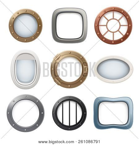 Plane Window. Ship Boat Round Glass Portholes Aircraft Interior Vector Realistic 3d Collection. Illu