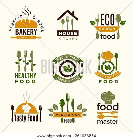 Food Logos. Healthy Kitchen Restaurant Buildings Cooking House Spoon And Fork Food Vector Symbols Fo