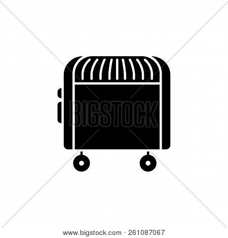 Black & White Vector Illustration Of Electric Convector. Flat Icon Of Portable House Heater. Isolate