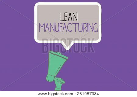 Conceptual hand writing showing Lean Manufacturing. Business photo showcasing Waste Minimization without sacrificing productivity poster