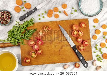 Prep Time, Or Mise En Place. An Overhead Photo Of A Professional Chef's Knife, Shot From Above On A