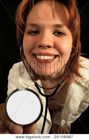 young sexy woman doctor on black