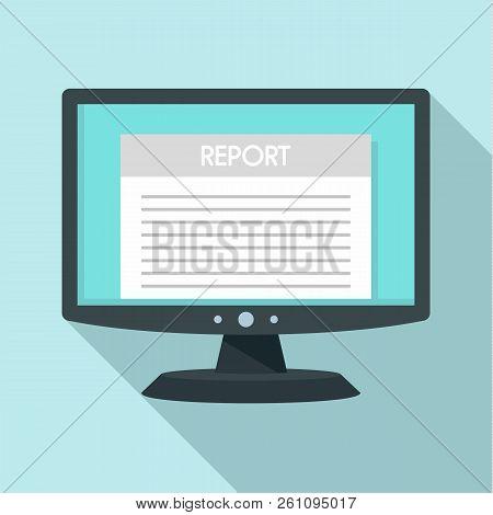Digital Tax Report Icon. Flat Illustration Of Digital Tax Report Vector Icon For Web Design