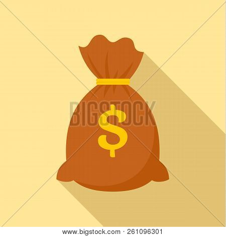 Money Bag Icon. Flat Illustration Of Money Bag Vector Icon For Web Design
