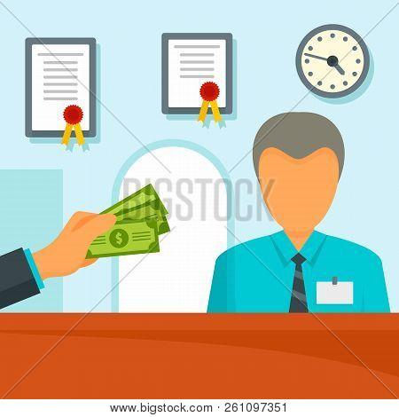 Give Money Bank Manager Concept Background. Flat Illustration Of Give Money Bank Manager Vector Conc