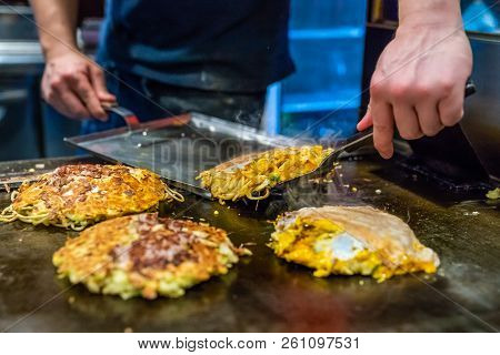 Chef Is Cooking Okonomiyaki