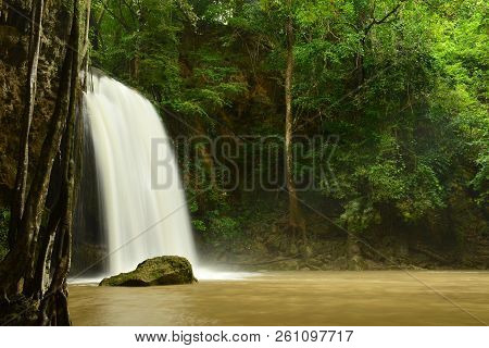 Scenic View Of Waterfall In The Rainy Season (cliff Of Waterfall),erawan Waterfall National Park,kan