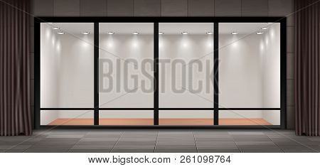 Vector Illustration Of Storefront, Glass Illuminated Showcase For Presentations And Museum Exhibitio