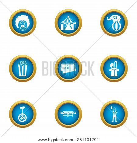 Circus reveal icons set. Flat set of 9 circus reveal vector icons for web isolated on white background poster