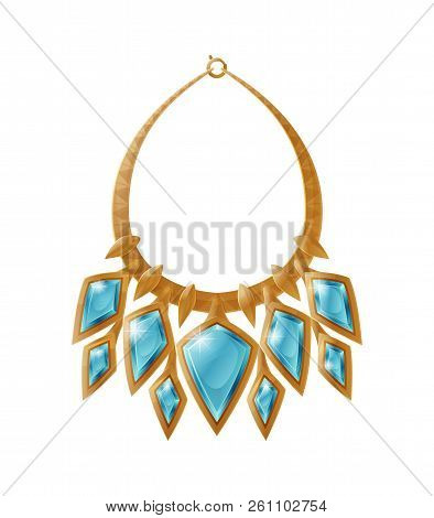 Necklace Accessory Decorated By Blue Precious Stone, Made Of Gold, Jewelry Collection Isolated Vecto