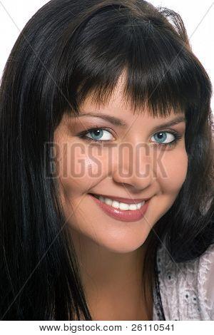 portrait beauty Eastern brunette woman on white background