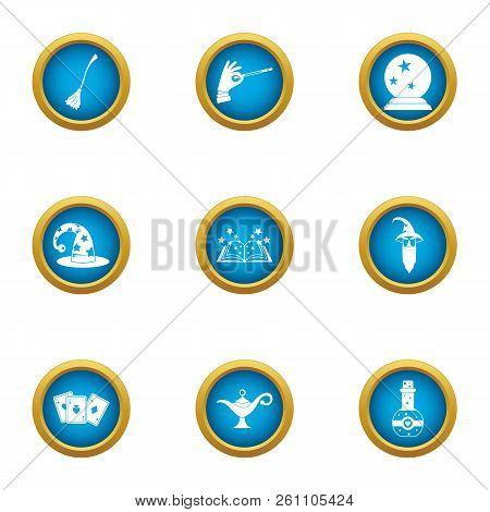 Fortuneteller Icons Set. Flat Set Of 9 Fortuneteller Vector Icons For Web Isolated On White Backgrou
