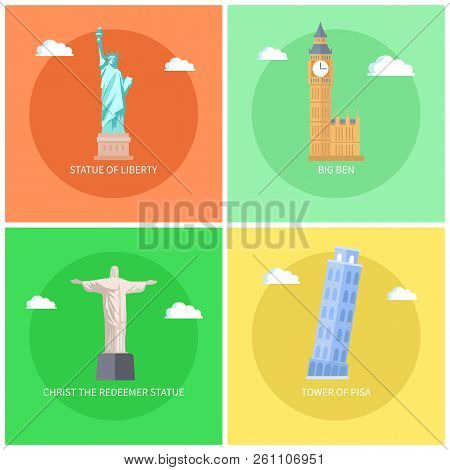 Statue Of Liberty And Big Ben, Christ The Redeemer, Leaning Tower Of Pisa, Christ The Redeemer Landm