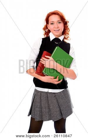Young beautiful student girl read book on white background