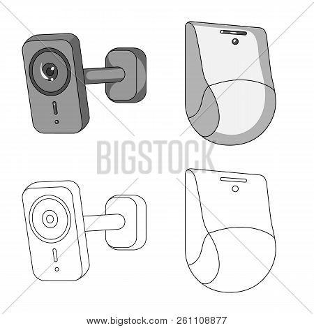 Vector Illustration Of Cctv And Camera Icon. Collection Of Cctv And System Stock Symbol For Web.