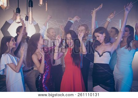 Careless, Carefree Friends With Handsome Man And Beautiful, Attractive, Pretty, Dreamy Ladies Dance