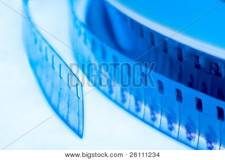 old cinema film 16 mm in blue