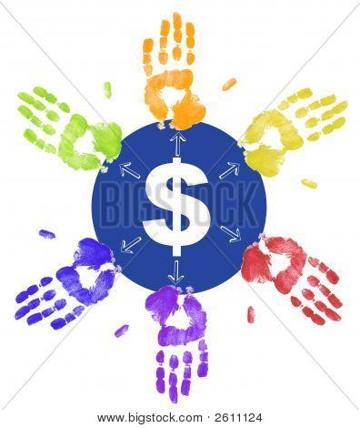 Hands Dividing Up Money
