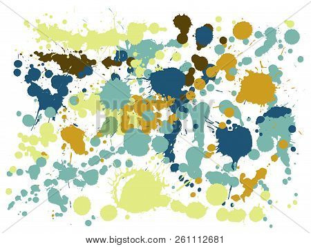 Paint Stains Grunge Background Vector. Rusty Ink Splatter, Spray Blots, Dirty Spot Elements, Wall Gr