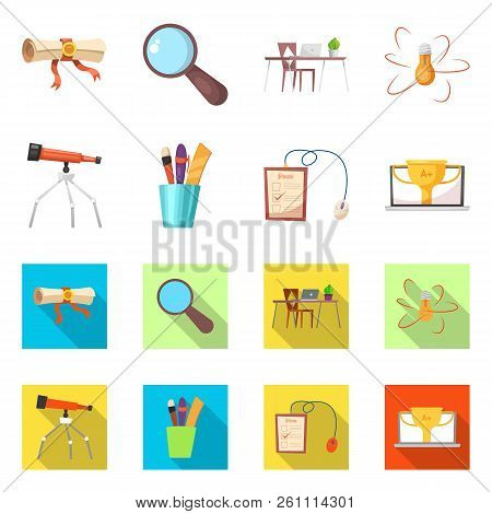 Isolated Object Of Education And Learning Sign. Set Of Education And School Stock Vector Illustratio