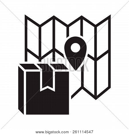 Gps Tracking Delivery Box Icon. Simple Illustration Of Gps Tracking Delivery Box Vector Icon For Web