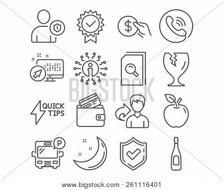 Set of Search files, Debit card and Fragile package icons. Payment, Champagne and Security signs. Quickstart guide, Bus parking and Certificate symbols. Vector poster