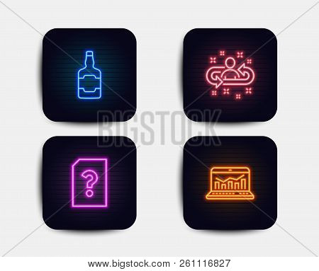 Neon Glow Lights. Set Of Whiskey Bottle, Unknown File And Recruitment Icons. Web Analytics Sign. Sco