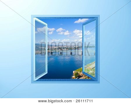 window on the blue wall on river and sky view