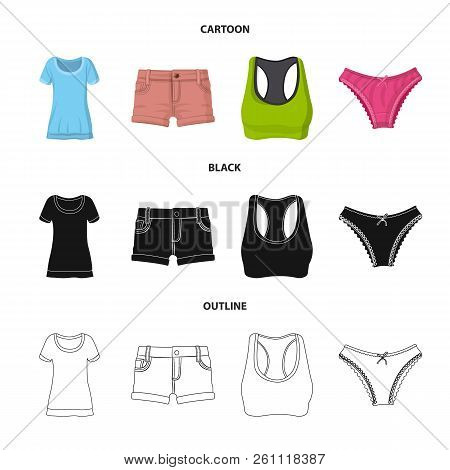 Vector Design Of Woman And Clothing Sign. Set Of Woman And Wear Stock Symbol For Web.