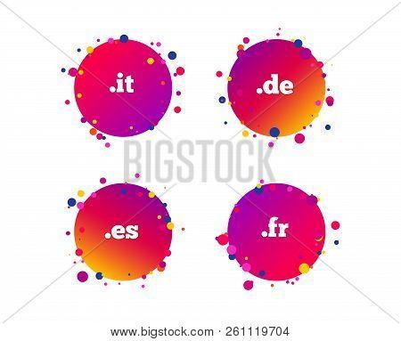 Top-level Internet Domain Icons. De, It, Es And Fr Symbols. Unique National Dns Names. Gradient Circ