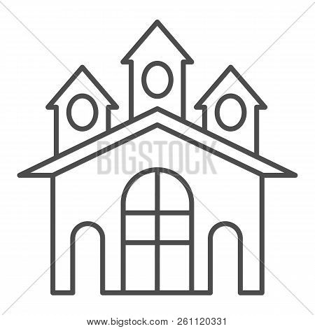 Fort Thin Line Icon. Castle Vector Illustration Isolated On White. Stronghold Outline Style Design,