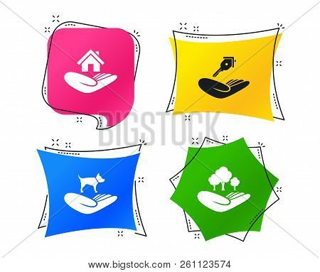 Helping Hands Icons. Shelter For Dogs Symbol. Home House Or Real Estate And Key Signs. Save Nature F