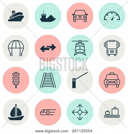 Shipping Icons Set With Navigation, Sail Ship, Car Vehicle And Other Tanker Elements. Isolated Vecto