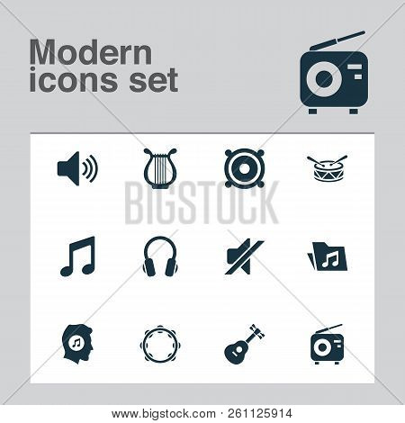Multimedia Icons Set With Mute, Tambourine, Volume And Other Tuner Elements. Isolated Vector Illustr
