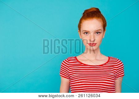 Portrait Of Nice Cute Lovely Attractive Calm Girlish Feminine Red-haired Girl With Bun, Wearing T-sh
