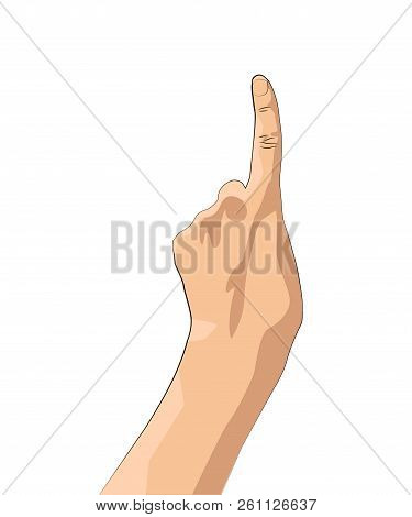 Foam Finger.hand Gesture Count One. Hand With The Index Finger Isolated