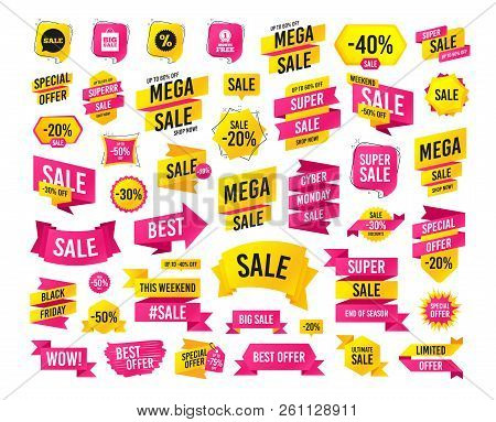 Sales Banner. Super Mega Discounts. Sale Speech Bubble Icon. Discount Star Symbol. Big Sale Shopping