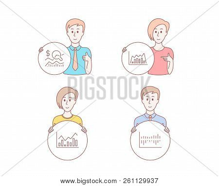 People Hand Drawn Style. Set Of Infochart, Infographic Graph And Check Investment Icons. Column Diag