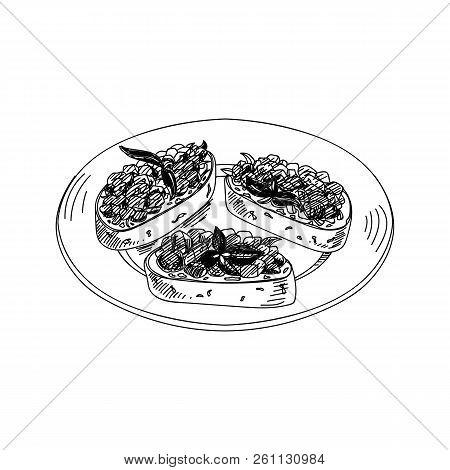 Vector Hand Drawn Bruschetta Antipasti. Dishes Of Italian Cuisine. Detailed Retro Style Illustration