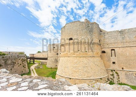 Otranto, Apulia, Italy - A Historical Defense Tower As Part Of The City Wall Of Otranto In Italy