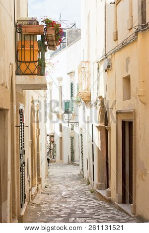 Otranto, Apulia, Italy - A Dreamily Alleyway Within The Old Town Of Otranto In Italy